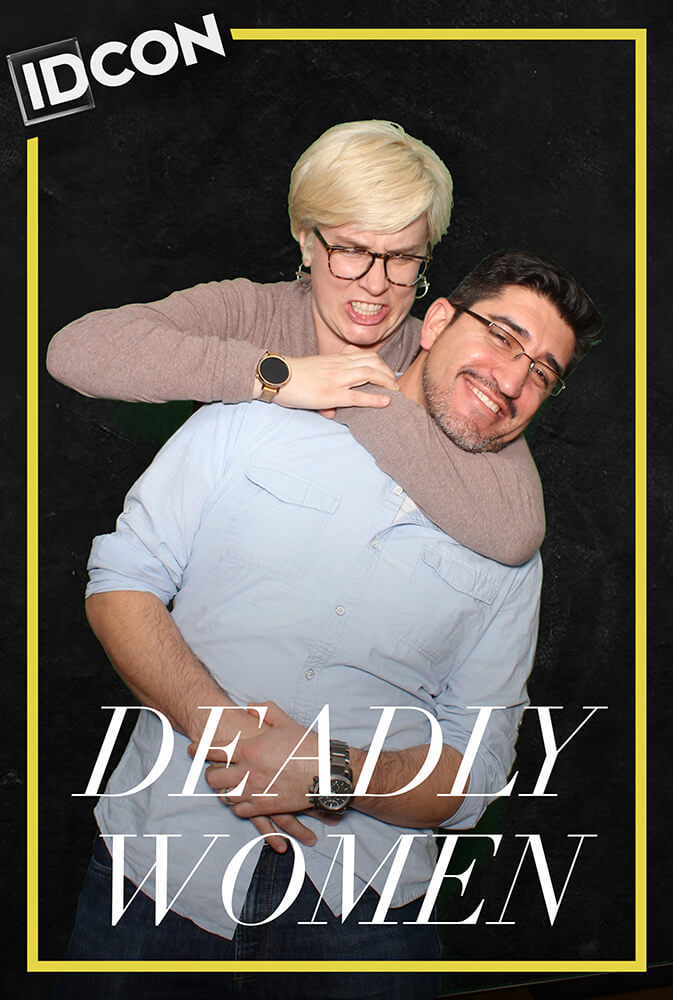 "A woman squeezes a man in a headlock at IDCon with a caption that reads ""Deadly Women"""